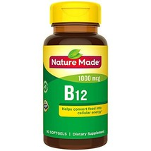 Nature Made Vitamin B12 1,000 mcg Softgels, 90 Count for Metabolic Health† Packa