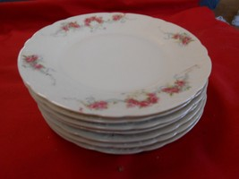 Beautiful ELBOGEN China-Pink Flowers-Made in AUSTRIA-Set of 7 BREAD PLAT... - $39.21