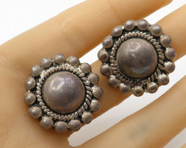AIRESS 925 Sterling Silver - Vintage Retro Pebbled Floral Stud Earrings - E2470 - $37.18
