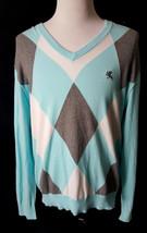 Expess  MEN'S V-NECK ARGYLE Sweater Size XL Blue Gray White Stylish Winter - $11.88