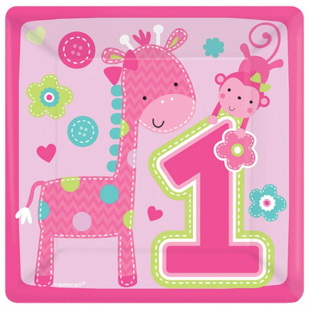 1st Birthday One Wild Girl Pink Dessert Plates 8 Per Package Birthday Supplies