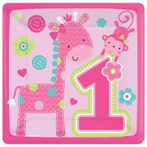 1st Birthday One Wild Girl Pink Dessert Plates 8 Per Package Birthday Supplies - $2.92
