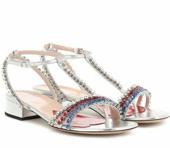 $1150 NIB Gucci Crystal Embellished Bertie Sandals Low Heel 38 38.5 549615 - $425.00