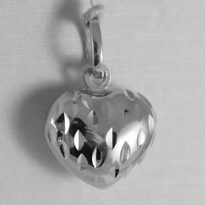 18K WHITE GOLD ROUNDED MINI HEART CHARM PENDANT FINELY HAMMERED MADE IN ITALY