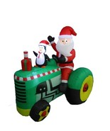 NEW Christmas Inflatable Santa Penguin on Tractor Lighted Yard Decor Out... - $91.22