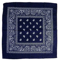 "6 Pack Paisley Cotton Head Wrap Western Scarf Face Cover Bandana Navy 22"" X 22"" image 2"