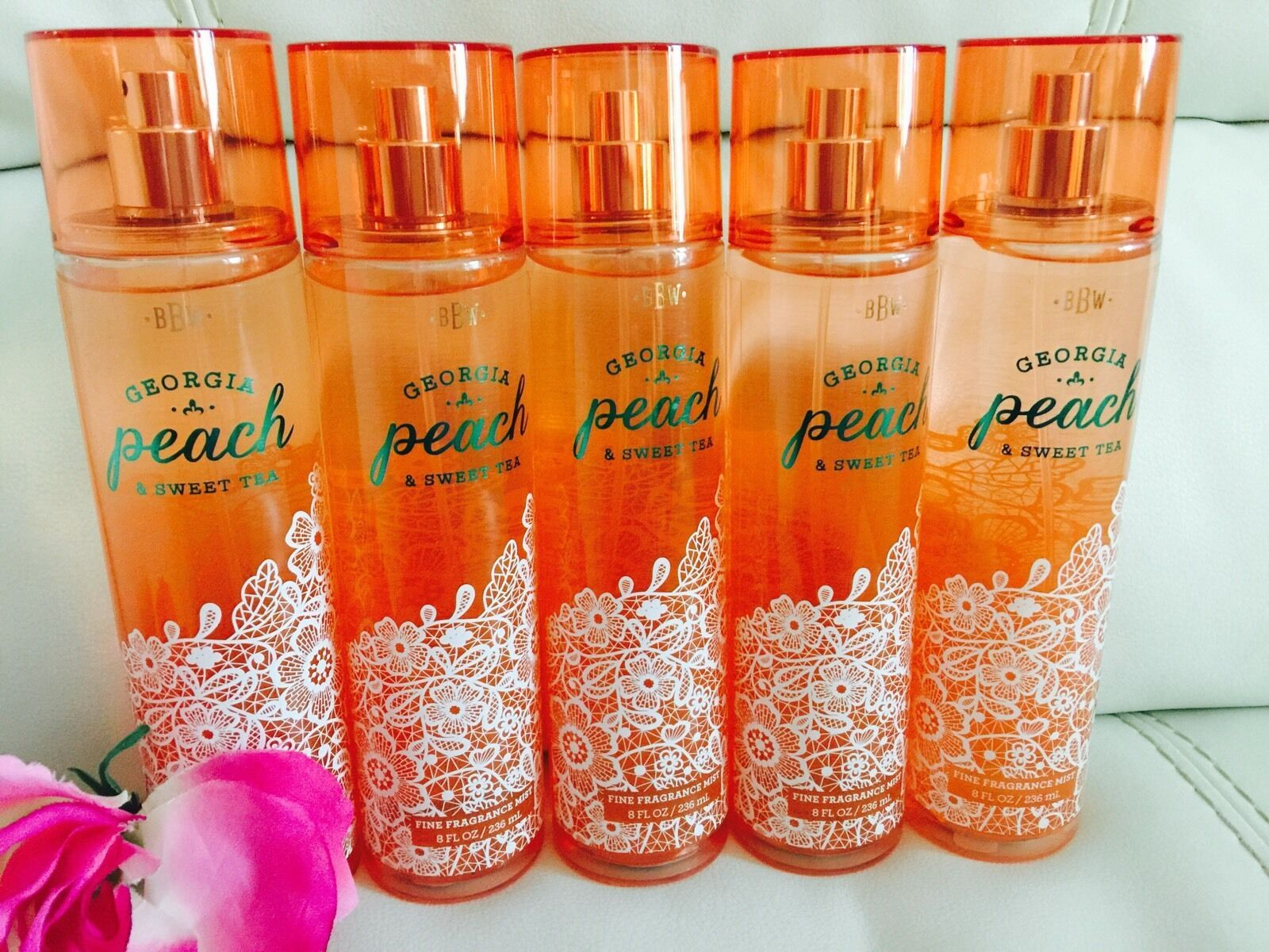 Total 5 Bath & Body Works Georgia Peach & Sweet Tea  Body Mist Full Size 8.4 Oz