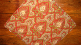 Pottery Barn Red Olive Green Light Blue Paisley Medallion 20x20 Pillow Cover - $24.72