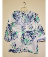 Charter Club Linen Printed Embroidered Tunic. size L - $10.00