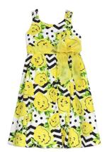 Rmla Little Fille Taille 2t Popeline Robe avec Noeud & Floral Jaune Chevron