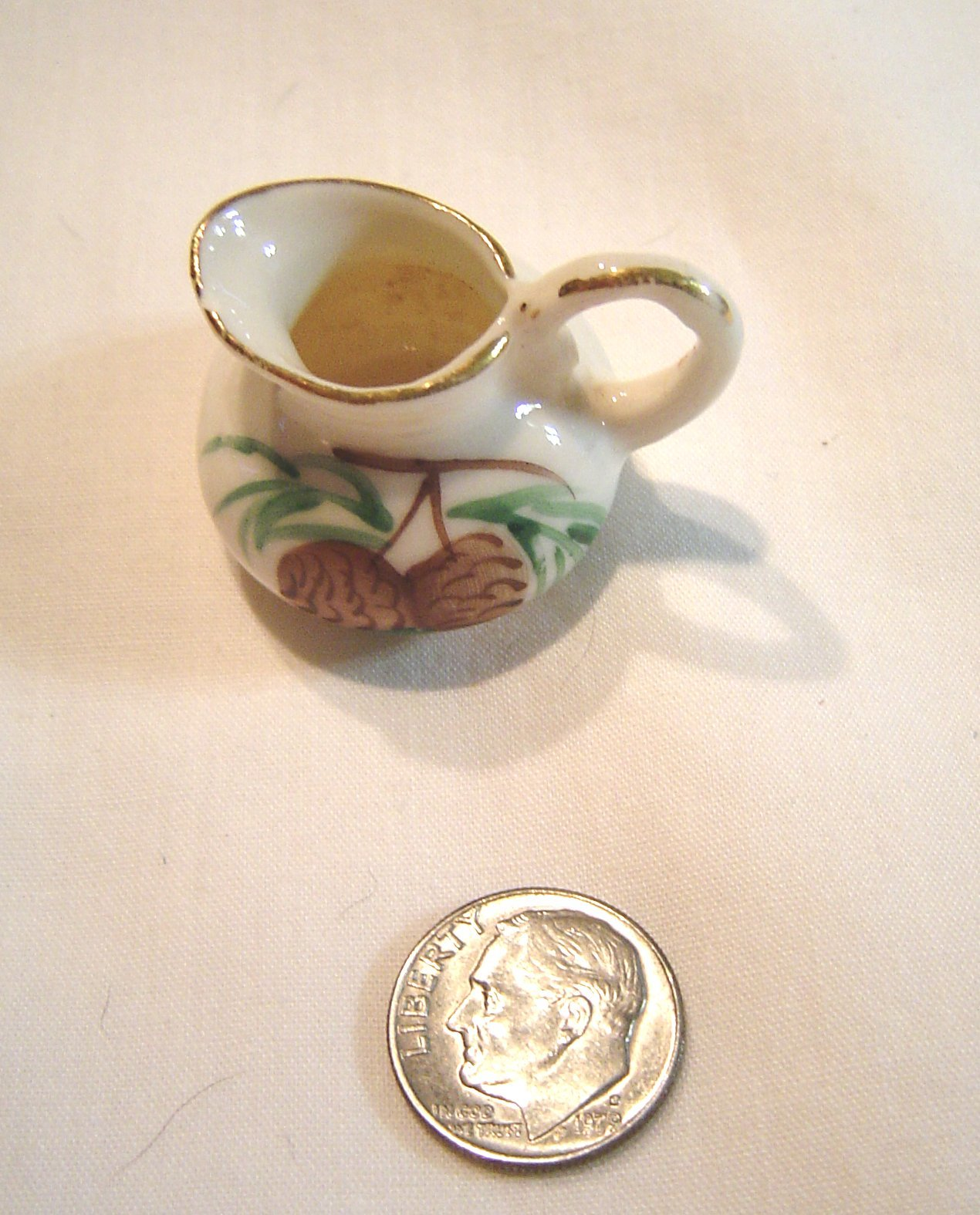 Primary image for Miniature Porcelain Pitcher featuring Pine Cones Dollhouse