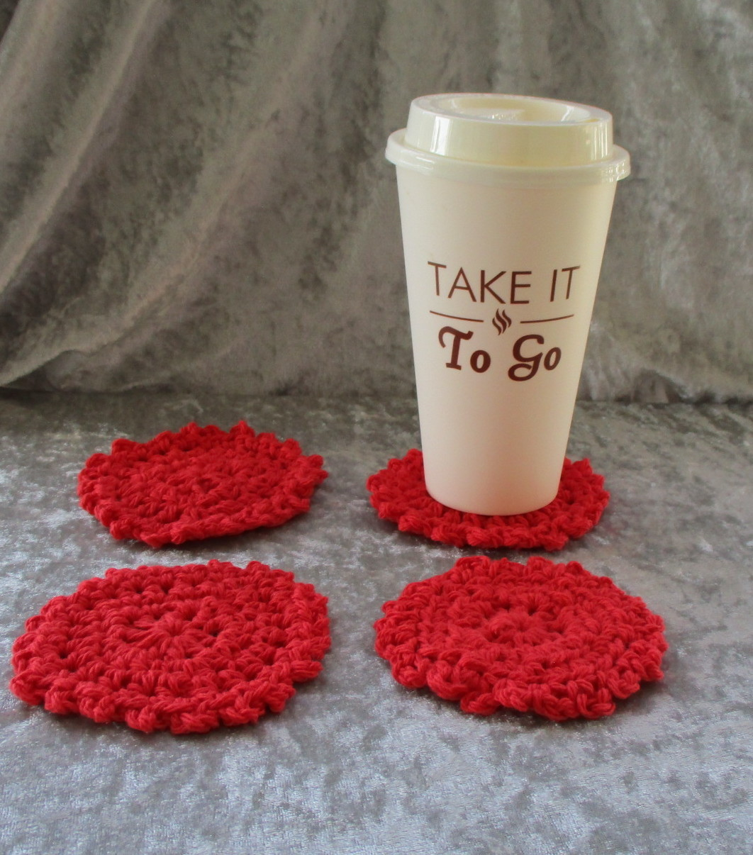 Set of Four Hand Crafted Red Coasters