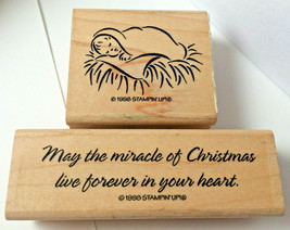 Stampin Up Nativity Christmas Miracle Baby Jesus  Sentiment Script Rubber   1998 - $16.92