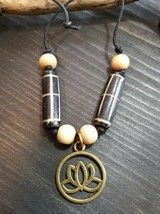 UNIQUE BRASS LOTUS CHARM/BROWN/BLACK CARVED WOOD BEADS/TIE NECKLACE/CHOKER - $8.99