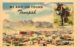 Linen Postcard NV AH C364 Me and Jim Found Tonopah Multiview Donkey Bird... - $7.00