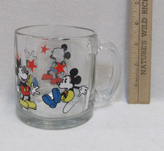 Classic Mickey Mouse Disney Clear Glass Mug Cup w/ Handle Surprised USA ... - $11.87