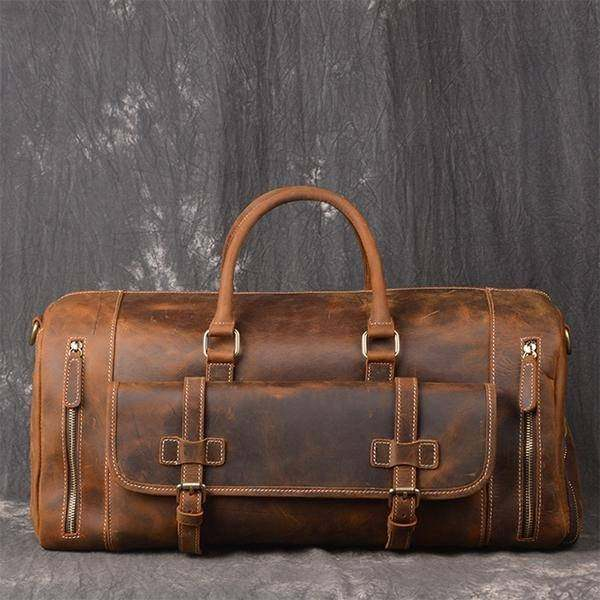 On Sale, Handmade Leather Luggage Bag, Vintage Weekend Bag, Travel Bag image 1