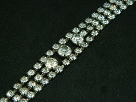 "Art Deco Style Silver Tone Clear CZ Rhinestone Clasp Bracelet Vintage 7.25"" - $39.59"