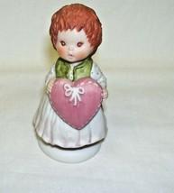 Handpainted Fine Porcelain Figurine 1983 Hallmark Little Girl with heart - $13.45
