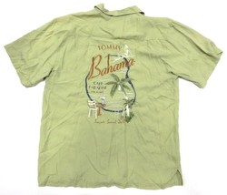 TOMMY BAHAMA Embroidered Green Button Up Shirt Adult Size Large 100% Silk - $59.35