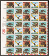 Dinosaurs, Sheet of 25 cent stamps, 40 stamps total, 1996 - $13.50