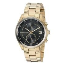 Michael Kors Women's Watch Ladies Golden Steel Bracelet Black Dial MK6497 - $229.96