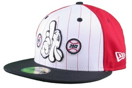 Dissizit! LA Hands 9212 New Era Fitted Cap Red/Wht Pinstripe Hat Baseball image 2