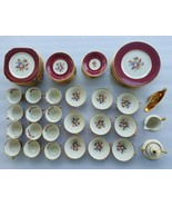 Syracuse China Old Ivory 58 pc Floral Maroon Gold Dinnerware Set Made in... - $425.41