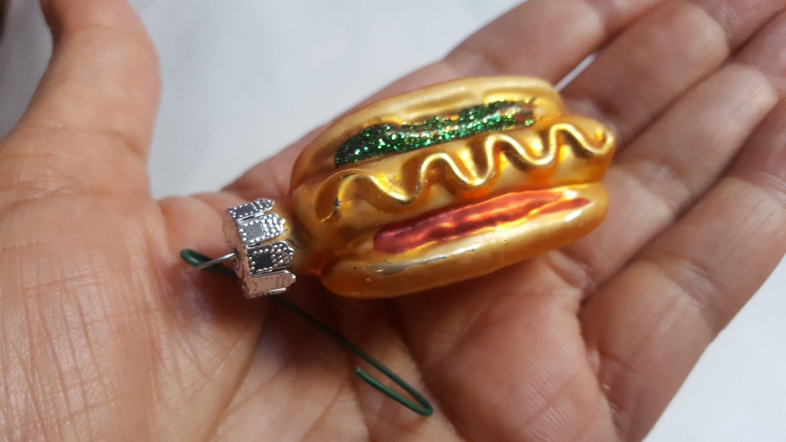 Primary image for Miniature Hot Dog Blown Glass Christmas xmas Ornament Tree Decoration pre-owned