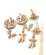 8 silver halloween metal charms pendants 15mm to 26mm pumpkin ghost goth... - $2.99