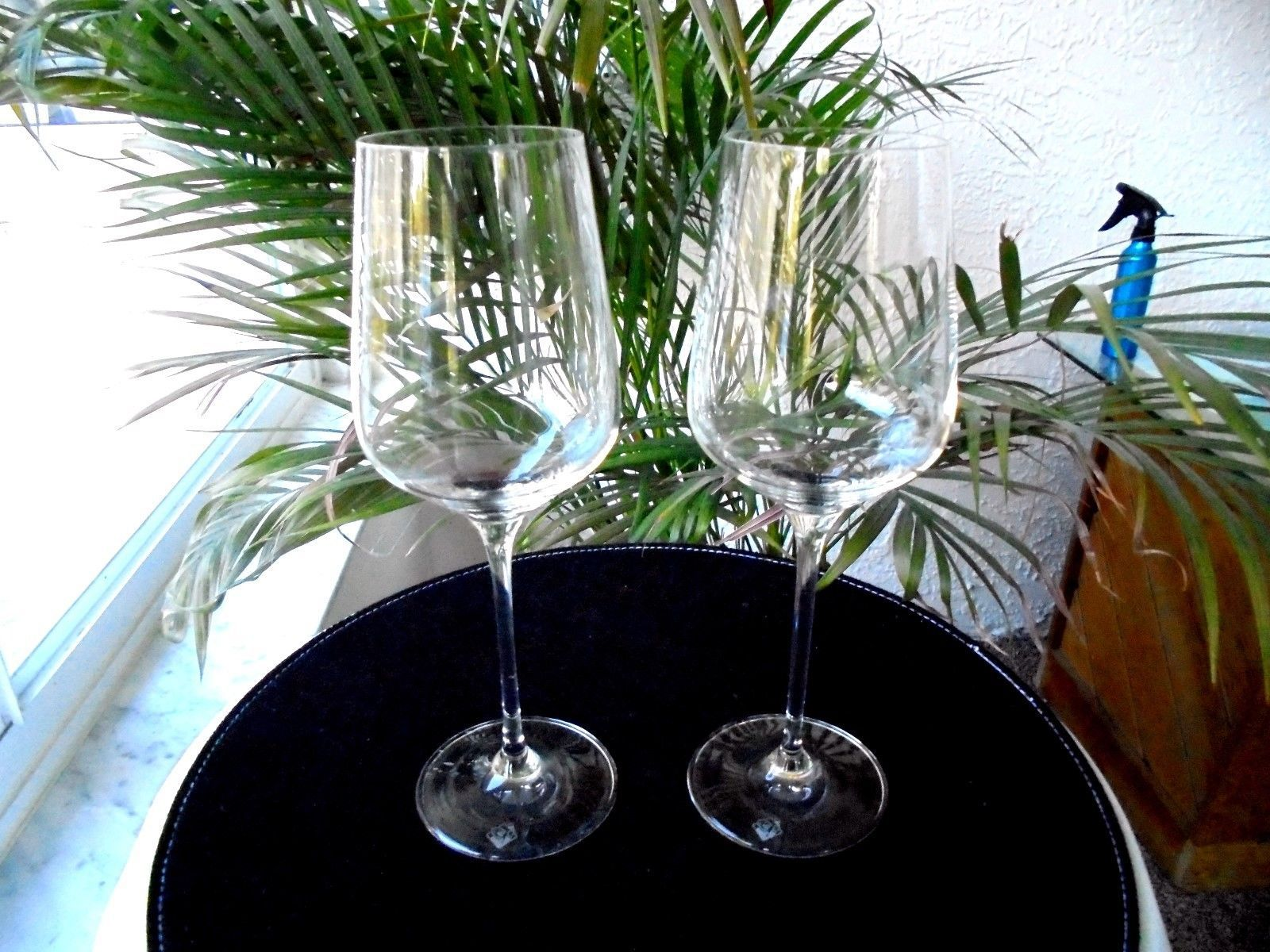 Primary image for Set of 2 Clear Crystal Premium Quality Wine Glasses Signed