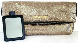 Victoria's Secret – Gold Sequin Zip-Up Makeup Bag Or Clutch Purse With Mirror - $22.23