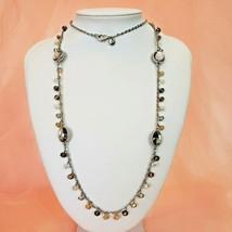 ANN TAYLOR LOFT Long Glass Bead Necklace Chic Rhinestone Statement Jewelry - $12.97
