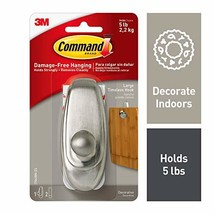 Command Silver Hook, Holds 5 lbs, Indoor Use 17063BN-ES