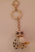 Owl Keychain White Enamel Gold Tone Clear Crystals Articulated Mother of... - $29.02