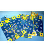 Jewish Holiday Gift Bags Hanukkah Menorah Design by Giftco Lot of 3 Blue - $12.75