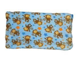 Baby Starters Fleece Blue Orange MONKEY Star Blanket Lovey HTF 36x40 Soft - $41.80