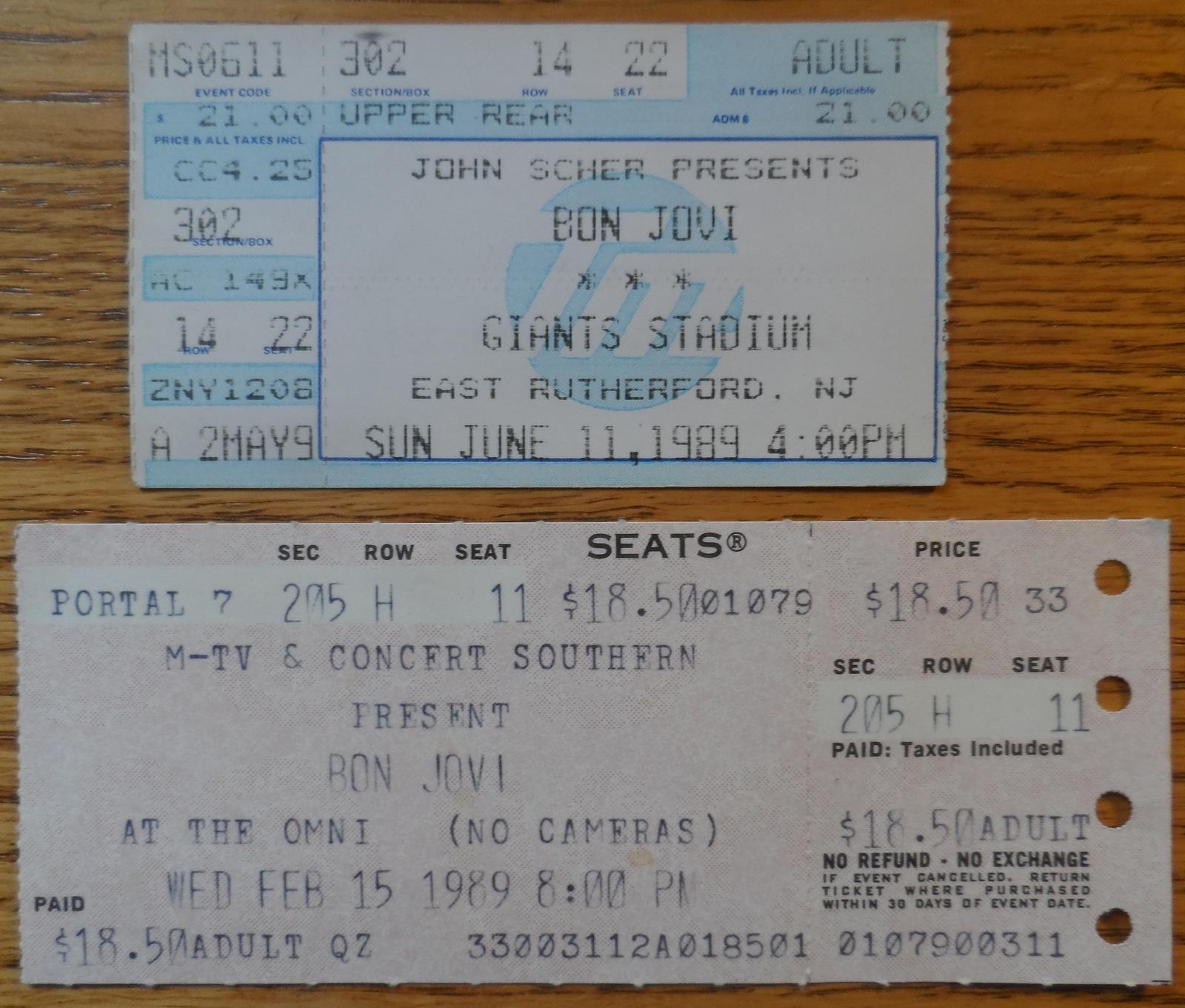 Bon Jovi 2 Vintage Ticket Stubs 1989 The and 50 similar items 8838c3a188cb