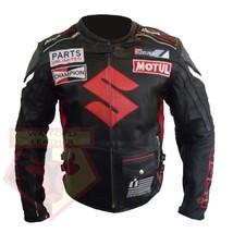 SUZUKI ICON BLACK MOTORBIKE MOTORCYCLE BIKER COWHIDE LEATHER ARMOURED JA... - $194.99