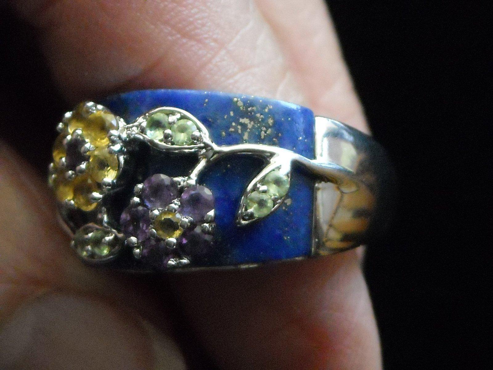 Vintage Sterling Ring Inlaid Laips Lazuli & Gemstones Set In Sterling Flowers 9 image 6