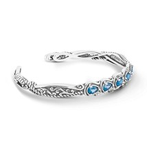 925 Silver & Faceted Blue Topaz Five Stone Cuff Bracelet- Small - $87.40