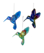 KURT ADLER SET OF 3 ACRYLIC IRIDESCENT HUMMINGBIRD CHRISTMAS ORNAMENTS T... - $14.88