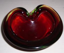 1950's Vintage Murano Italian Red & Vaseline Cenedese Geode Bowl - $399.99