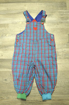 Gymboree Vtg Baby Overalls One Piece Blue Green Cotton Checkered Size 18-24 m - $26.99