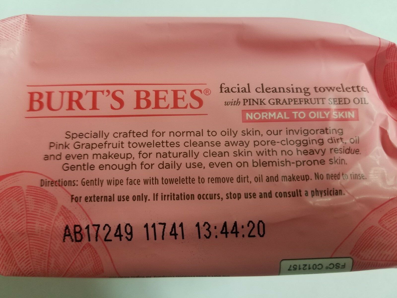 Burt's Bees Facial Cleansing Normal-Oily Towelettes Pink Grapefruit 30 Count x2