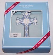 LOVELY WEDGWOOD BLUE JASPERWARE CHRISTMAS CROSS ORNAMENT IN BOX - $33.65