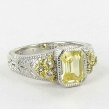 Judith Ripka Estate Collection Ring Canary White Sapphire 18k 925 Sz 7 N... - $286.15