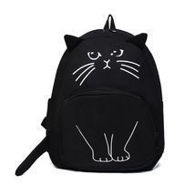 Lovely Cat Printing Backpack Women Canvas School Bag Girls Teenagers Sty... - $376,31 MXN