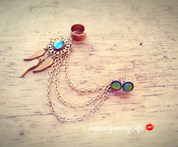 Boho Rainbow Dreamcatcher Ear Cuff Earrings Set Rainbow Dream Catcher Ea... - $88.00