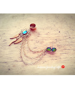 Boho Rainbow Dreamcatcher Ear Cuff Earrings Set Rainbow Dream Catcher Ea... - $88.00